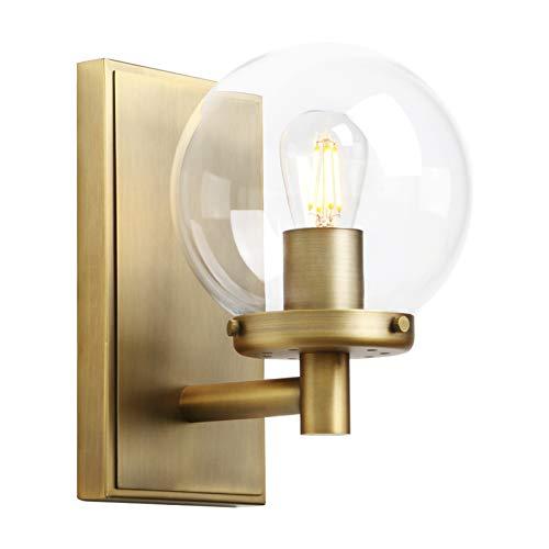 Pathson Vintage Wall Sconce, Industrial Bathroom Vanity Light with Globe Glass, Indoor Wall Lamp Fixtures for Hallway Kitchen Bedroom