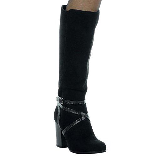 Block Heel Angkorly Schlangenleder Oberschenkel Damenmode High Stiefel 8 Tanga Weich Stiefel cm Schwarz 5 Schnalle Schuhe 1FqUzcCwF