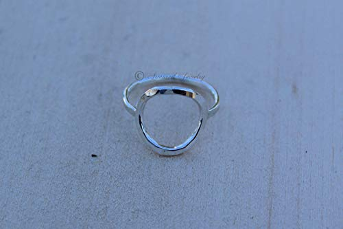 (Sterling Silver Circle Ring - Hammered Karma - Open Circle Slim Ring Stacker Stacking Stackable Geometric Thin Dainty Delicate - Armored Jewelry - Round Ring - Textured ring)