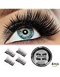 Beauty : VASSOUL Dual Magnetic Eyelashes - Magnet Ultra-thin 0.2mm - 3D Reusable Fake Eyelashes For Women Makeup - Natural Look (4 Pcs)
