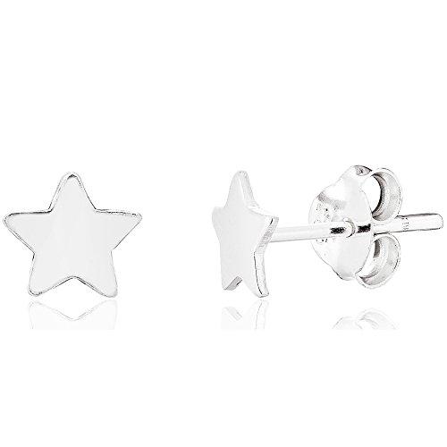 DTPsilver - Boucles d'oreilles Femme en Argent Fin 925 en Forme de Étoile - Fermoir clou