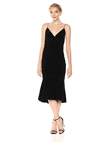 Vera Wang Women's Velvet Sequins Slip Dress With Flutter Skirt, Black, (Vera Wang Four)