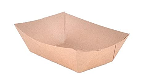 Paper food Tray Made From ECO - Friendly Kraft Paperboard, Great For Picnics, Carnivals, And More! Holds Nachos, Fries, Hot Corn Dogs, Etc. (250, (Paper Food Trays 2lb)