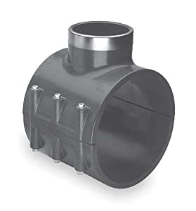 """Spears 867-SR Series PVC Clamp-On Saddle with EPDM O-Ring, Zink Bolt, Stainless Steel Reinforced Outlet, Schedule 80, 4"""" IPS OD x 1/2"""" NPT Female"""