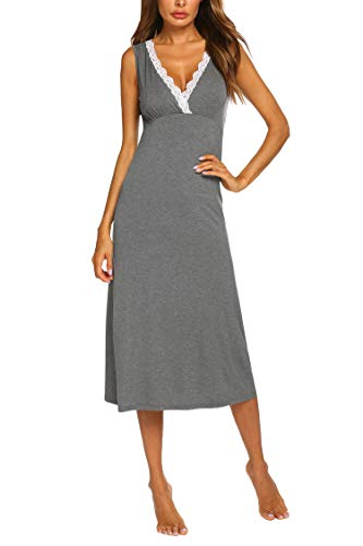 Ekouaer Womens Long Loungewear Lace Sleepwear Sleeveless Sleepshirt V Neck Maxi Nightgown Sleep Dress Gray ()