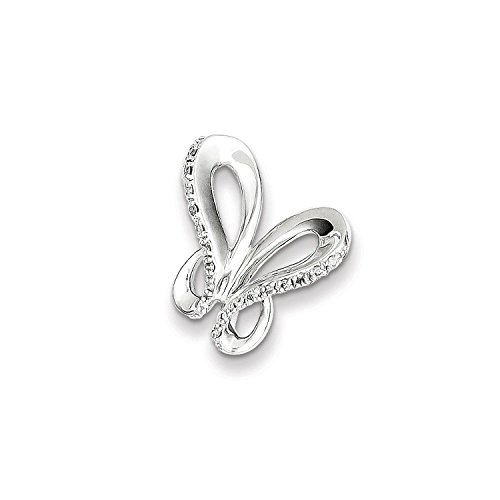 (Sterling Silver & Diamond Butterfly Pendant Slide (Color H-I, Clarity SI2-I1))