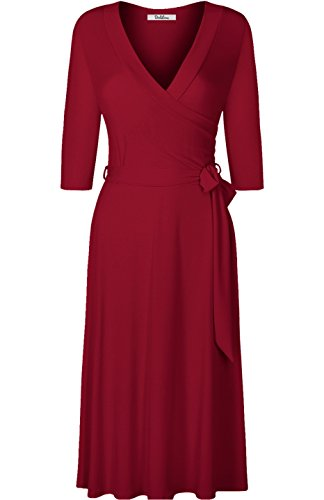 Mock Sleeve Dress - BodiLove Women's 3/4 Sleeve V-Neck Solid Knee Length Mock Wrap Dress Burgundy M