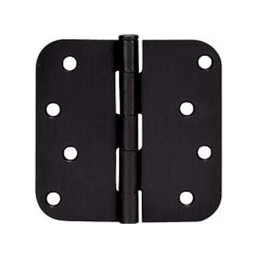 "12 Pack - Cosmas Flat Black Door Hinge 4"" Inch x 4"" Inch with 5/8"" Inch Radius Corners - 44074"