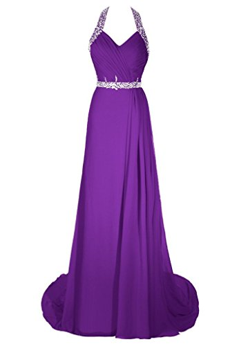Dresstore Women's Halter Beaded Prom Evening Dress Long Chiffon Bridesmaid Dress Purple US 8 (Gown Formal Renta)