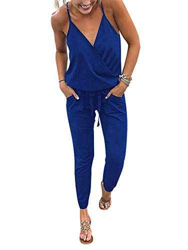 (Adibosy Women V Neck Jumpsuits Overalls Strap Sleeveless Summer Casual Playsuit Rompers with Pockets Blue XL )