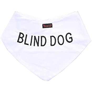 BLIND DOG White Dog Bandana quality personalised embroidered message neck scarf fashion accessory Prevents accidents by warning others of your dog in advance