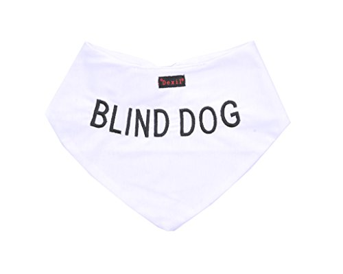 BLIND-DOG-White-Dog-Bandana-quality-personalised-embroidered-message-neck-scarf-fashion-accessory-Prevents-accidents-by-warning-others-of-your-dog-in-advance