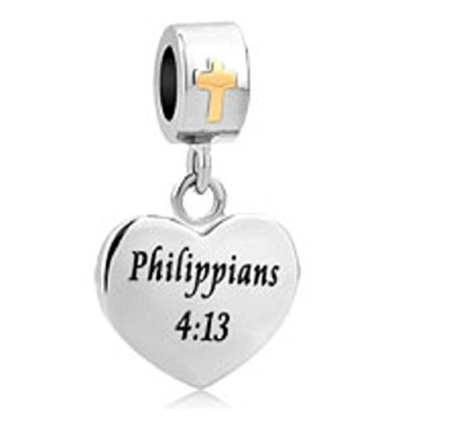 Charmed Craft Heart Religious Cross Charms With God All things are Possible Beads for Bracelets (Philippians ()