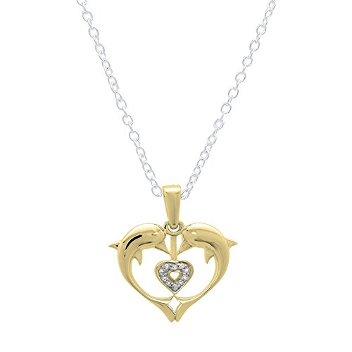 0.05 Carat (ctw) 10K Yellow Gold Real Round Diamond Ladies Double Dolphin Heart Pendant (Diamond Ct Real 0.05)