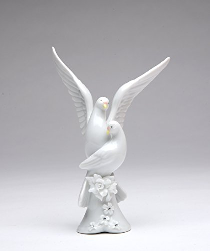 - Cosmos Gifts 50044 Fine Porcelain White Double Doves with Rose Cake Topper Figurine, 5-1/4