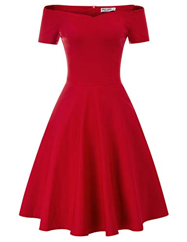 Short Sleeve Formal Wedding Party Dress A-line Size L Red CL020-2