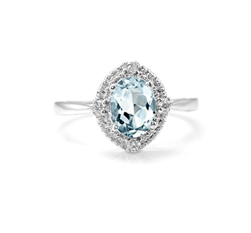 House of Gems Blue 925 Sterling Silver Ring with Natural Aquamarine Gemstone Oval Cut Handmade