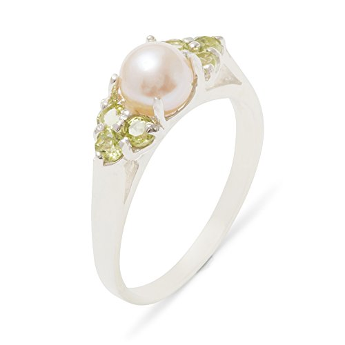 - 925 Sterling Silver Cultured Pearl & Peridot Womens Cluster Ring - 7.5 - Size 7.5