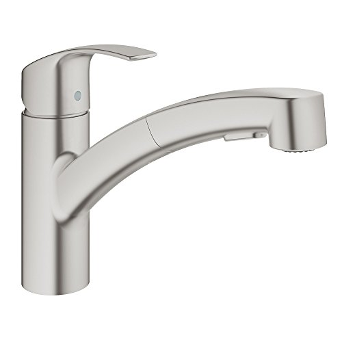 Grohe 30306DC0 Eurosmart Single-Handle Pull-Out Sprayer Kitchen Faucet in SuperSteel,