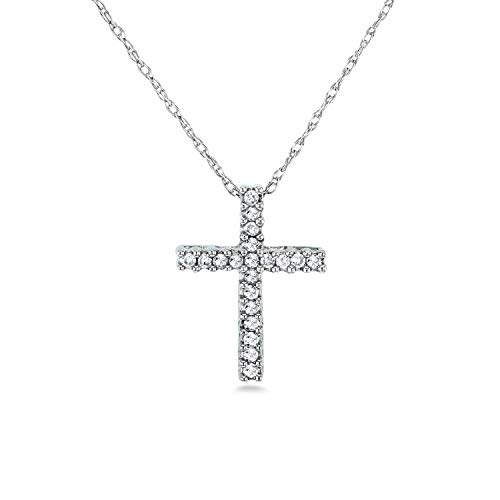 - Diamond Cross Necklace 1/10 Carat TDW Shared Prongs in 10k Gold, White