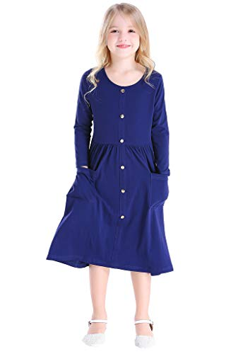 Bow Dream Girl Dress Vintage O-Neck Long Sleeve Solid Cotton with Buttons Navy Blue 6