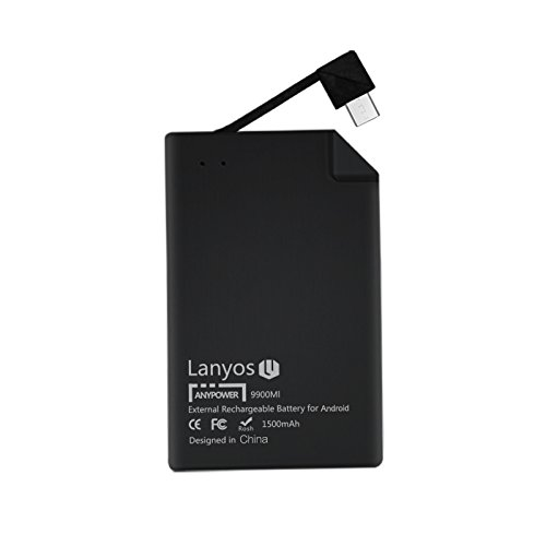 Lanyos Ultra-Thin Android Power Bank Built in Micro USB Cable Wallet Size 1500 mAh External Battery Charger by LANYOS