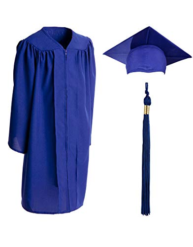 - Child Matte Graduation Gown, Cap and Tassel Set - Graduation Robe For Kindergarten, Pre-K and Daycare, Royal Size 30 (Height 3.6 to 3.9 inches tall)