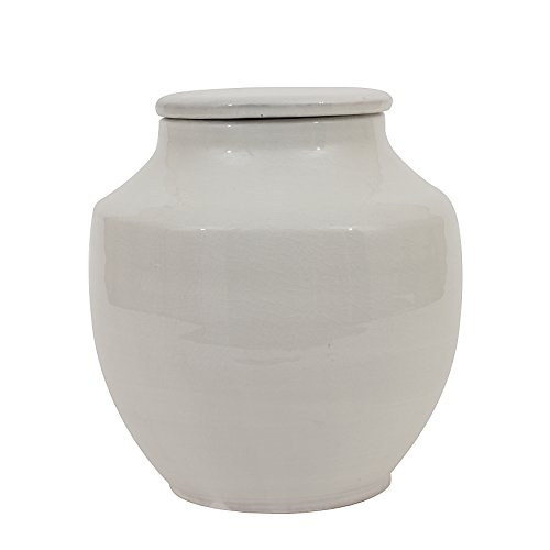 Creative Co-Op Small Round White Terracotta Cachepot, 8 Inch,