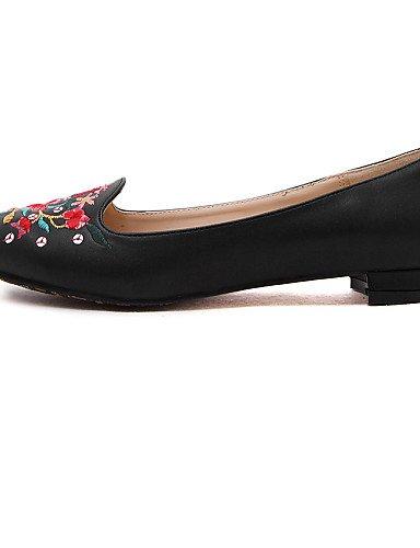 plano black eu39 PDX zapatos Toe punta mujer de Flats talón uk6 casual cerrado de piel vestido cn39 us8 Toe negro rT1YZqTw