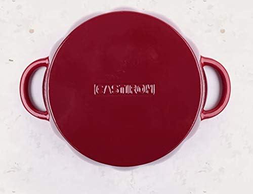 Rong Tian X Pot en Fonte Rouge 24CM, Pot en émail, Pot à Lait, Pot à ragoût, cuisinière à Induction à gaz, Universel (Taille: Longueur 24CM × Hauteur 10CM)