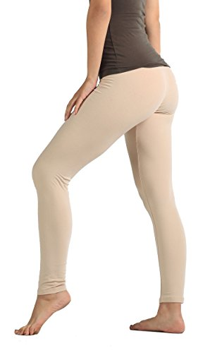 Pants Dress Cream (Conceited Super Soft High Waisted Leggings for Women - Opaque Full Ankle Length - Nude Beige - Small/Medium (0-10))