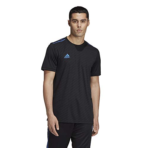 adidas Men's Alphaskin Tiro Jersey, Black/Blue Pearl Essence, Medium