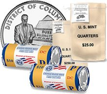 (2009 District of Columbia Quarter Two Roll Set R63 P/D US Mint 80 BU Coins)