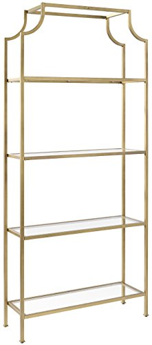 Modern Etagere - Crosley Furniture CF6101-GL Aimee Etagere Bookcase - Gold and Glass