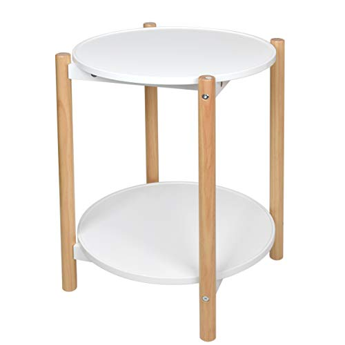 (Home-Man 2-Tier Side Table, Scandinavian End Table with Removable Trays, Round Coffee Table with Solid Pine Legs, Nature White)