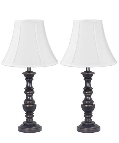 White Bell Shantung Shade with Classic Turned Table Lamp Set of 2 Antique Bronze Finish