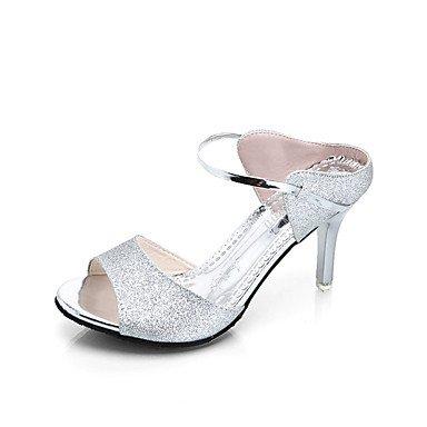 La mujer confort sandalias Glitter Verano caminando Casual Confort Sequin Stiletto talón Oro Plata rubor rosa azul 3A-3 3/4 pulg. US6.5-7 / EU37 / UK4.5-5 / CN37
