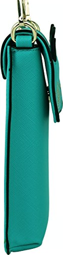 Crossbody Cellphone B Vegan Leather Purse Saffiano BRENTANO Cat Turquoise RwYvqFw