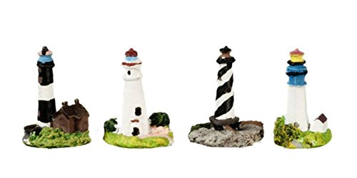 Miniature Lighthouse (Dollhouse Miniature 4 Piece Poly Resin Lighthouses)