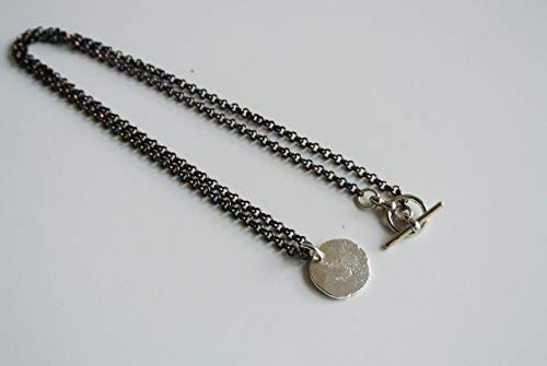 (Robbie - Men's Sterling Silver Pendant 17mm Wide Necklace with 20