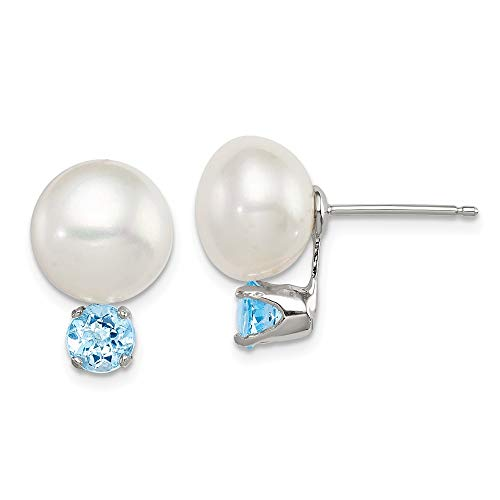 925 Sterling Silver 11mm Freshwater Cultured Button Pearl Blue Topaz Post Stud Earrings Ball Fine Jewelry Gifts For Women For Her ()