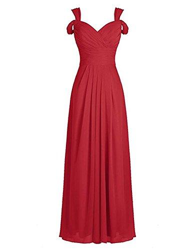 Burgundy Dark Chiffon Bridesmaid Long the Dress Botong Evening Gowns Red Off Shoulder dB7vd