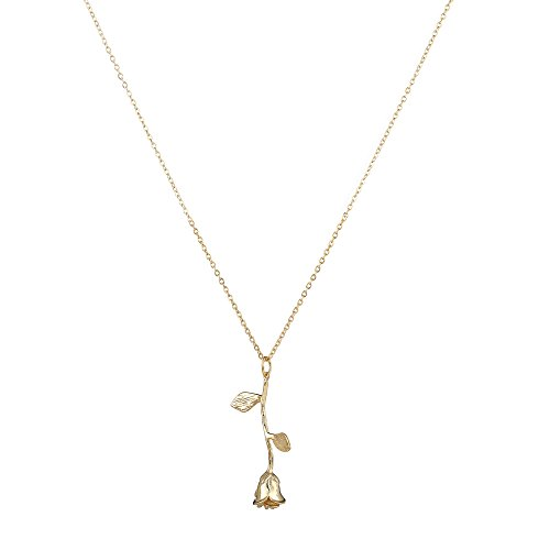 ace Handmade 14K Gold Vivid 3D Rose Pendant Dainty Chain Jewelry (14k Gold Flower Necklace)