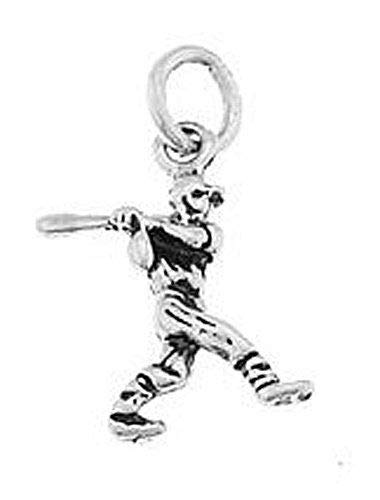 (Sterling Silver Baseball Player Swinging BAT Charm/Pendant Jewelry Making Supply Pendant Bracelet DIY Crafting by Wholesale Charms)