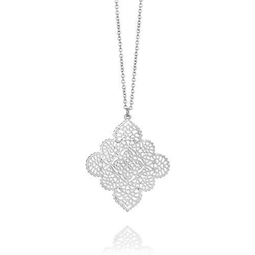 (POMINA Floral Flower Filigree Pendent Long Necklace for Women (Worn)