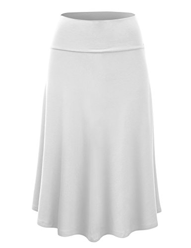 Womens Solid Flare Midi Skirt product image