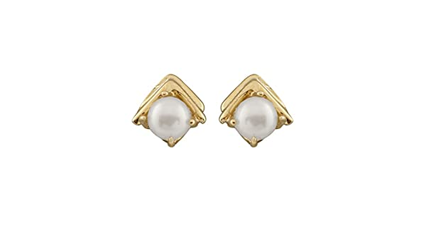 14k Yellow Gold Stud Earrings 4-4.5mm Freshwater Cultured Pearls with 14K YG Butterfly Silicone Push Backs