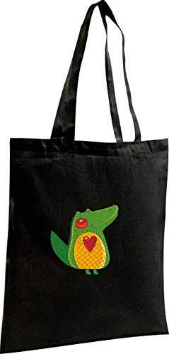 Motivos Negro Shopping Con Shirtstown Bag Bellos Cocodrilo Yute Xx7Pn0
