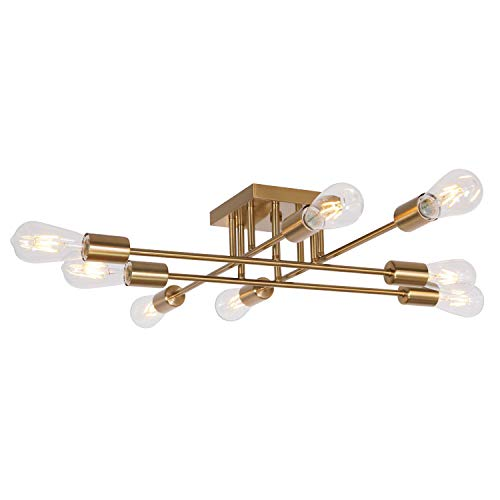 (VINLUZ Modern Semi Flush Mount Light 8 Light Brushed Brass Industrial Sputnik Ceiling Light Mid Century Lighting Fixture for Dining Room Living Room Kitchen Bedroom Foyers)