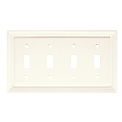 Quad Switch Wall Plate - Brainerd 64536 Wood Architectural Quad Toggle Switch Wall Plate / Switch Plate / Cover